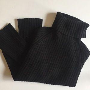 BR Cashmere Ribbed Turtleneck Sweater Black Large
